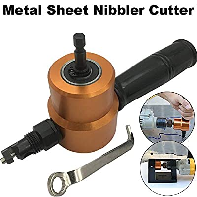 Everrich Double Head Sheet Metal Cutter, Versatile Nibbler Drill Attachment for Straight Curve and Circle Cutting, Maximum 14 Gauge Steel, Perfect for Home DIY and Car Repair