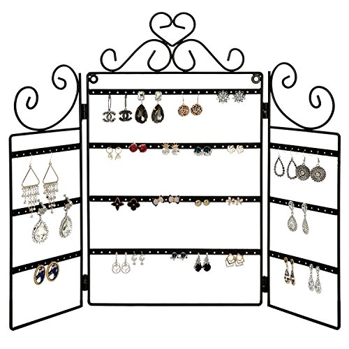 MyGift Scrollwork Black Metal 72 Pair Earring Organizer Freestanding Rack/Wall Mounted Jewelry Display Holder