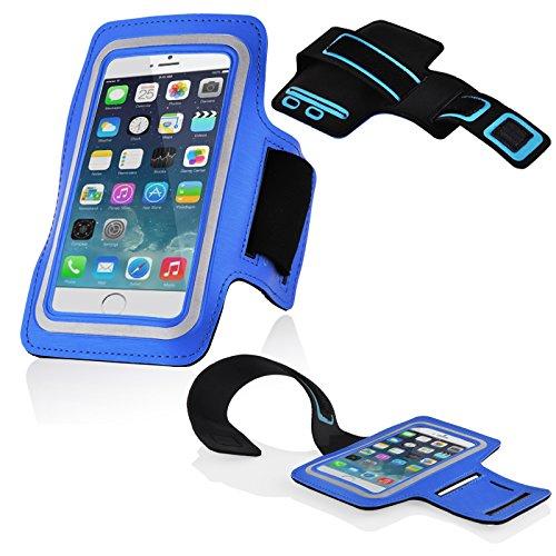 Cadorabo – Neopren Smartphone Sport Armband Fitnessstudio Jogging Armband Oberarmtasche kompatibel mit 4.5 – 5.0 Zoll Handys wie z. B. Apple iPhone 6, 7, Samsung Galaxy A3, > HTC ONE A9 < usw. mit Schlüsselfach und Kopfhöreranschluss in BLAU