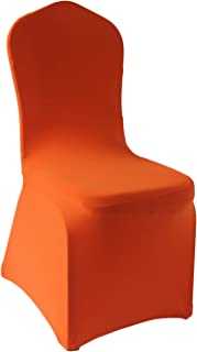 Orange Stretch Spandex Chair Covers - 12 pcs Wedding Party Dining Scuba Elastic Chair Covers (Orange, 12)