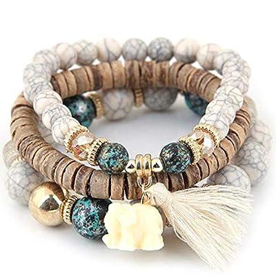 Qenci Women Fashion Wood Beads Bracelets Boho Small Elephant Charm Bracelets Set Vintage Style Jewelry Strand