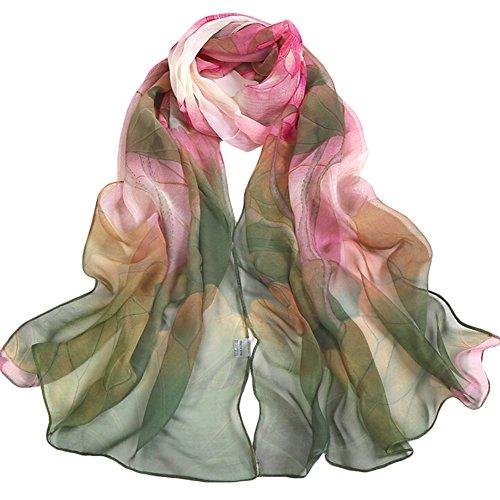 Demarkt chiffonsjaal chiffon stola sjaal zijden sjaal dames halsdoek omslagdoek loop slangsjaal blauw patroon groen