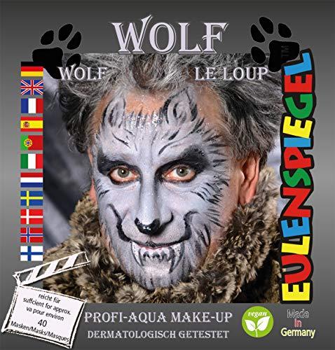 Eulenspiegel 204412 Schminkset Wolf, Pinsel und Anleitung, 4 Farben