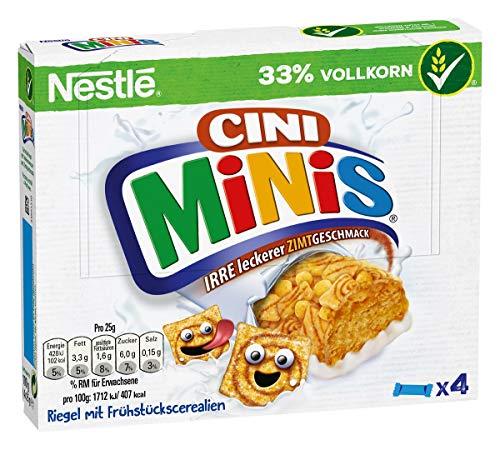 Nestlé CINI MINIS Riegel, Cerealien mit Zimt-Geschmack, knuspriger Snack mit Vollkorn-Weizen & Calcium, für Kinder, 1er Pack (1 x (4 x 25g))