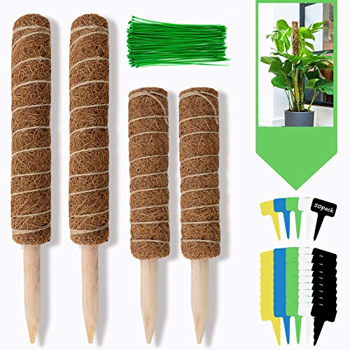 Moss Pole Support for Climbing Plants 4 Pack,Potted Monstera Coir Sticks Totem Pole Stakes with 100 Pcs Plant Ties/ 50 Pcs Garden Labels (12 in 15.7 Inch Long)