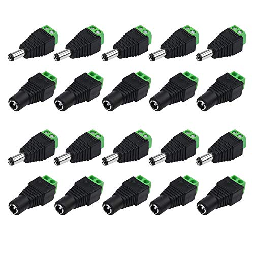 10 pares macho/hembra conector CC, 5,5 x 2,1 mm, adaptador de corriente continua para cámara, LED Light Strip, CCTV Cámara