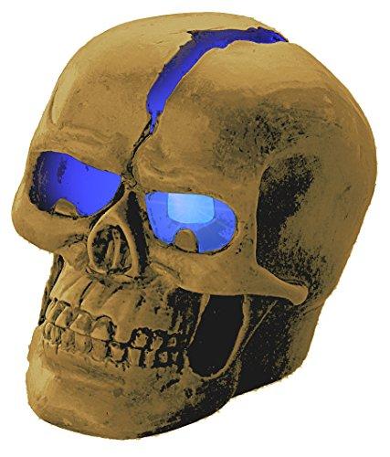 Lunartec Totenkopf Lampe: Schädel-Leuchte Crackhead 1 Blaue LED (Beleuchteter Totenkopf)