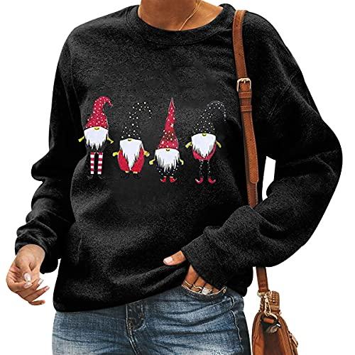Jersey Feo Navidad Mujer Jersey Navideño Mujer Jerseys Navideños Feos Sudadera Navideña Sudaderas Navideñas Pullover Christmas Sweatshirt Divertido Gracioso Talla Grande Invierno Personalizado Negro M