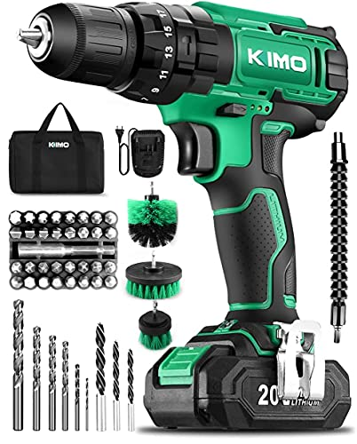 KIMO Cordless Drill Set, 20V Cordless Drill with Battery and Charger & Cleaning Brush, 350 In-lb Torque, 3/8