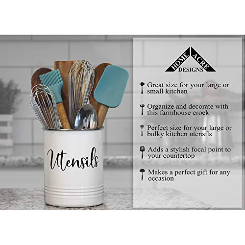 Home Acre Designs Collection Utensil Holder-Modern Farmhouse Kitchen Decor-Large White Black Utensil Crock-Vintage Organizer- Kitchen Tool Caddy-Stainless Steel Rim-Rustic Countertop Storage Solution