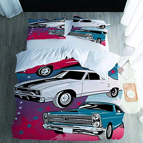 PPKMBGRS Printed Duvet Cover,Set Ultra Soft Hypoallergenic Microfiber Quilt Set With Pillowcase Single/Double,Car Room Bedroom Bed Decoration Set-135x200cm