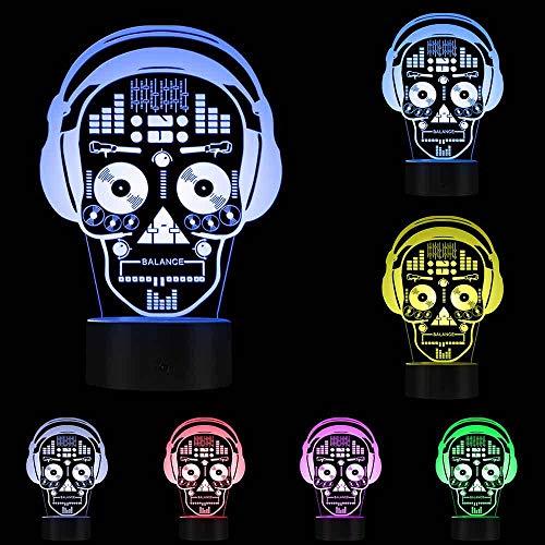 3D-Nachtlicht,3D Led Illustration Kunst Dj Skeleton Kopfhörer Sound Mixer Nachtlichter Musik Schädel Tattoo Kopfhörer Led Lichter Dekor Tischlampe, Touch Control