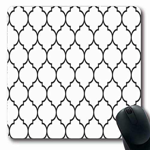 Jamron Mousepad Oblong 7.9x9.8 Inches Black Curve Rococo Textile White Wide Moroccan Pattern Graphic Vintage Ligature Symmetry Textures Non-Slip Rubber Mouse Pad Office Computer Laptop Games Mat