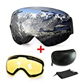 WLZP [2019 New] Masque de Ski ou Snowboard avec Traitement Anti-buée et Protection Anti-UV - Verres sphériques Doubles...