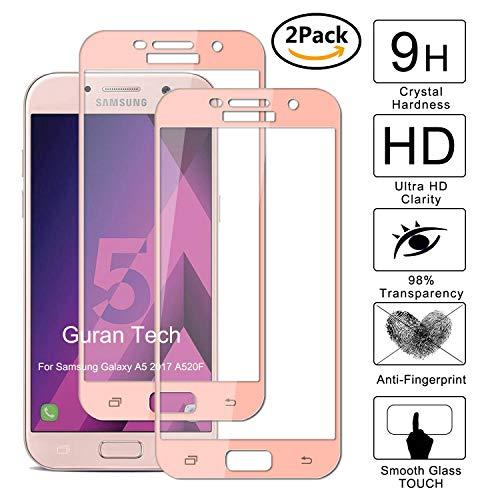 Guran [2 Paquete] Protector de Pantalla para Samsung Galaxy A5 2017 A520F [Full Coverage] Vidrio Cristal Templado 100% Cobertura Completa Film - Oro Rosa