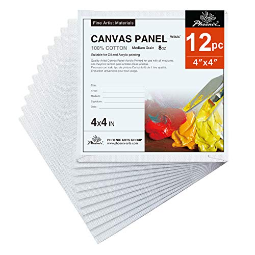 PHOENIX Artist Painting Canvas Panels - 4x4 Inch / 12 Pack - Triple Primed Cotton Canvas Boards for Oil & Acrylic Painting