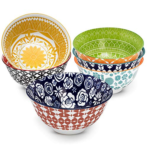 Annovero Cereal Bowls – Set of 6 Porcelain Bowls for Rice