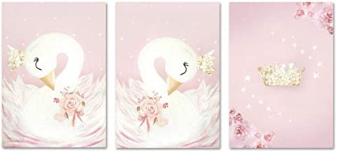 JHCH Baby Girl Nursery Wall Art Canvas Painting Pink Swan Cartoon Posters Nordic Kids Decoration Pictures Children Bedroom Decor/40X50Cmx3 Pcs Frameless