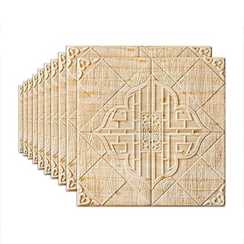 LICHAO フォームレンガの壁パネルルームの装飾泡立て器70 * 70cmの屋根の壁の装飾3D壁のステッカー防水と防湿レトロな壁紙自己接着剤(色:ベージュ、サイズ:10pcs) (Color : Beige, Size : 10pcs)