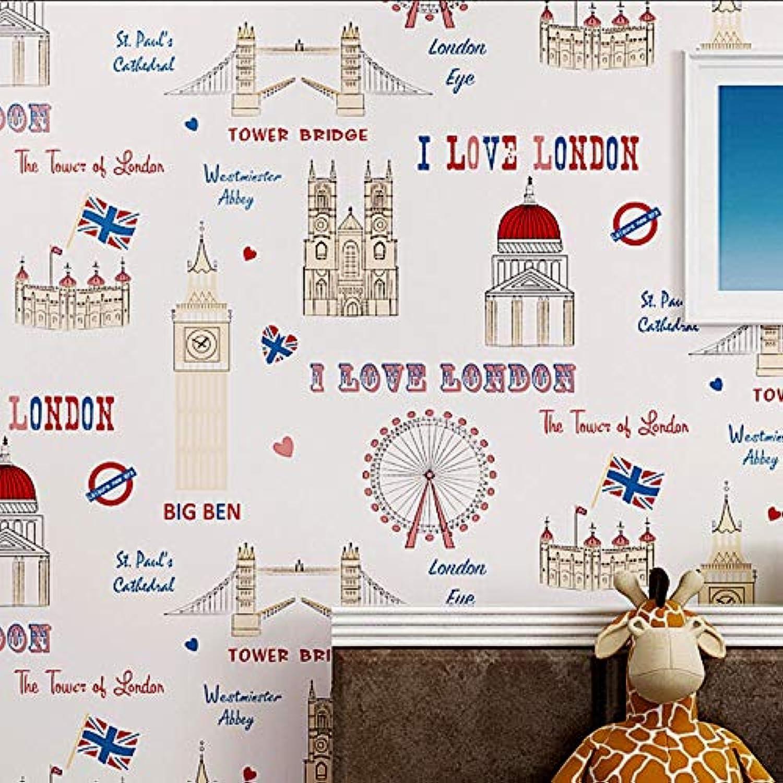 bienvenido a comprar DUOCK England Style Cartoon Tower Kids Room Colorful Wall Wall Wall Decor Mural Wall Paper Ecofriendly Murals Wallpaper,69042,5.3 Square Meters  Esperando por ti