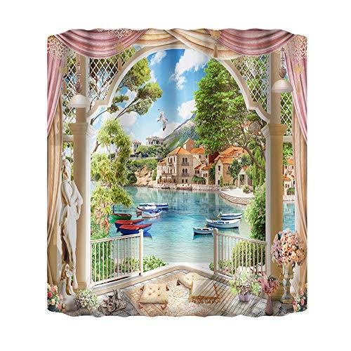 Yiran Cortina de Ducha Paisaje Natural Lavable decoración de baño para el hogar Cortina de poliéster Moderna de Hotel con Ganchos(El 150x180cmXiao748)