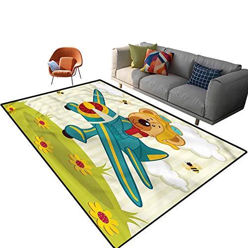 Indoor Room Cartoon Area Rugs,3'x 5',Teddy Bear on the Airplane Floor Rectangle Rug with Non Slip Backing for Entryway Living Room Bedroom Kids Nursery Sofa Home Decor