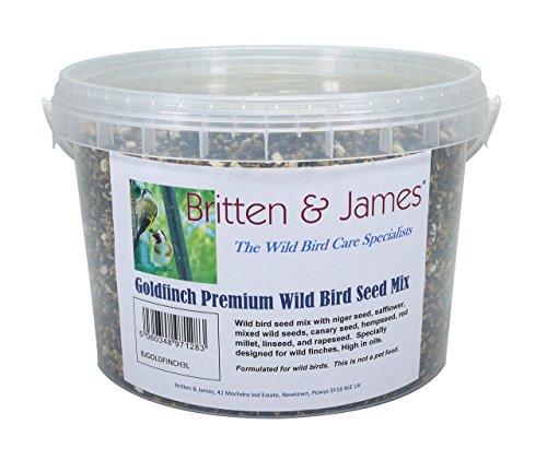 Britten & James Graine pour Oiseaux Sauvages Goldfinch Premium Mélanger dans Un Contenant de 3 litres. Le résultat de décennies de développement Prudent.