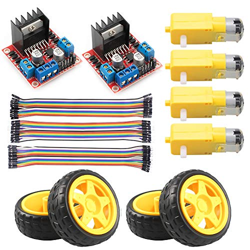 KeeYees L298N Motor Drive Controller Board Stepper Motor Control Module Dual H-Bridge with DC Motor and Smart Car Wheel Compatible with Arduino