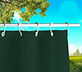 Toldos Exteriores con Agujeros en la Parte de Arriba y los Ganchos de Metal Tejido antimoho Repelente al Agua Toldo de Tela de algodón resinado para terrazas Gazebos Balcon (Verde, 390cm x H 280cm)
