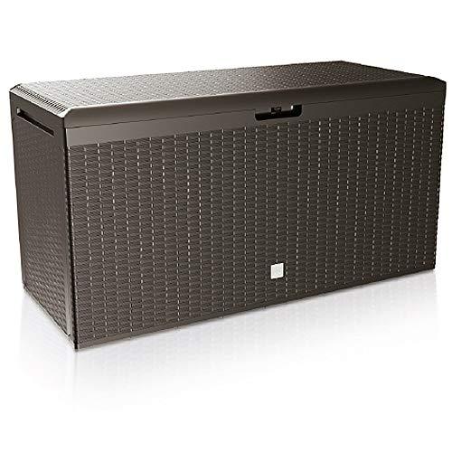 Deuba Auflagenbox Rato Plus Rollen Griffe 100 kg belastbar Smart Click System Truhe Gartenbox Kissenbox Braun