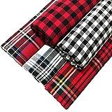 ZAIONE - Tessuto in cotone 100% scozzese, 45 x 45 cm, motivo tartan tartan a quadri, per imbottiture, per vestiti, decorazioni natalizie, cucito, patchwork