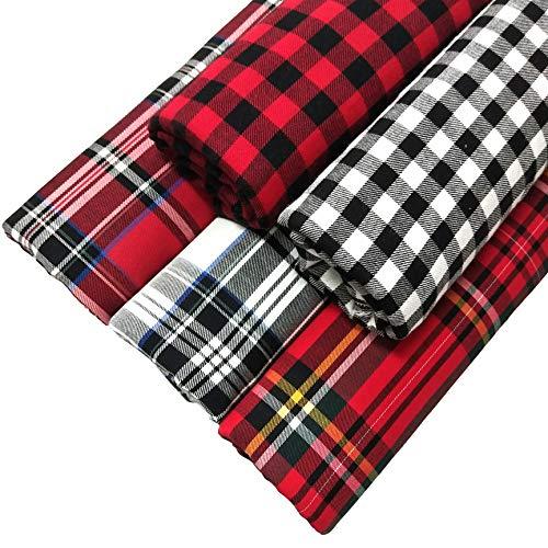 ZAIONE 100% tela de algodón a cuadros, 5 piezas de 45 cm x 45 cm, tela escocesa a cuadros de cuadros de tela teñida para ropa de decoración de Navidad