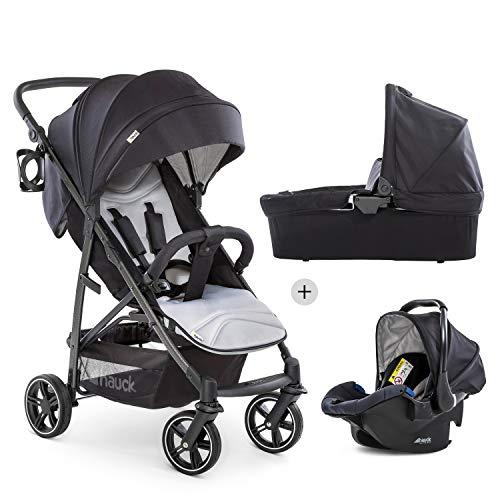 Hauck Rapid 4S Plus Trioset mit Babywanne + Babyschale + Sitz mit Liegefunktion, ab Geburt, extra großes Verdeck, höhenverstellbar, klein faltbar, Becherhalter, bis 25 kg - schwarz grau