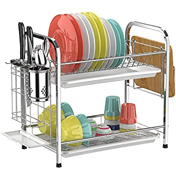 Dish Drying Rack,Ace Teah 304 Strainless Steel Dish Rack,2 Tier Dish Drainer with Utensil Holder,Silver