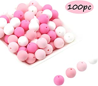 Promise Babe Pink Round Silicone Teething Beads Set of 100pc 12mm 100% Food Grade Silicone Loose Beads DIY Accessories