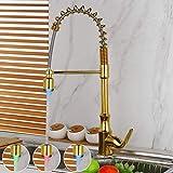 TJJL Drehbare und herunterziehbare Küchenarmaturen, vergoldete Waschbeckenarmaturen, Waschtischarmaturen, mit LED-Federsprüharmaturen