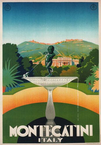 """TV37 Vintage 1930 Montecatini Tuscany Italian Italy Travel Poster Re-Print - A2+ (610 x 432mm) 24"""" x 17"""""""
