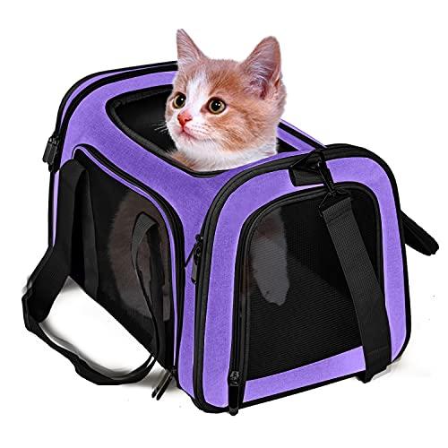 TrutDotペットキャリーバッグ 安全な猫キャリーバッグ 通気性抜群 犬キャリー ショルダー 折りたたみ 手提...