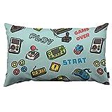 Yuanmeiju Gamer Devices Throw Pillow Cover Video Juego Telón de Fondo Botón Cartucho Mando a Distancia Tela de Lino para sofá Cama Sofá Coche Cintura Cojín Funda de Almohada de 12 x 20 Pulgadas