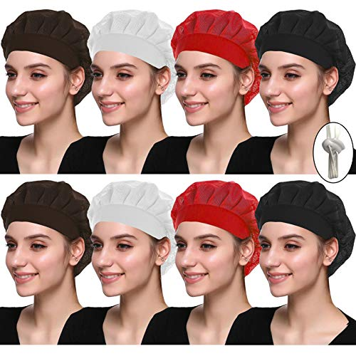 6/8/10 Pack Chef Hat Adult Adjustable Elastic Chef Cap Baker Kitchen Cooking Food Service Hair Nets Mesh Bouffant