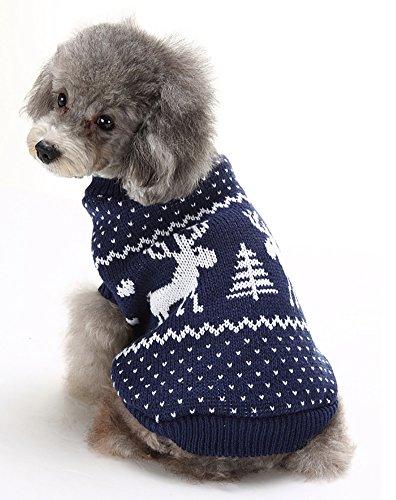 (マルペット)MaruPet 誕生日 聖夜 秋冬 ペットウェア犬服猫服 おしゃれ ペットウェア ドッグウエア 小型犬用品 かわいい犬の服 ニットセーター トイプードル/ダックス/マルチーズ/シュナウザー/シーズー等の小型犬 ネイビー XXL