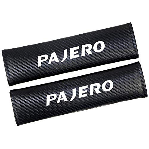 GLLXPZ 2本のカーボンファイバーレザーカーシートベルトカバー、三菱パジェロ用、カーシートベルトショルダーパッドカーアクセサリー