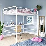 DHP Bed, Full Size Frame, Metal/White Desk Loft,