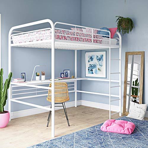 dhp full size bed frames DHP Bed, Full Size Frame, Metal/White Desk Loft,