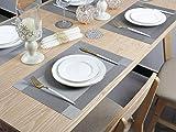 Pretty Decor Famibay Grau Platzdeckchen und Tischläufer Abwaschbar - 3