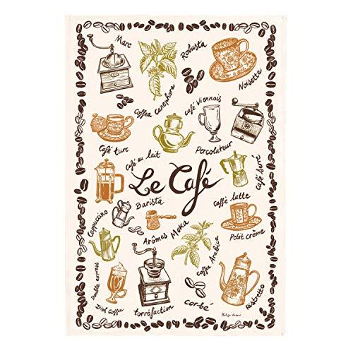 Winkler - Torchon - Torchon de cuisine - Chiffons de nettoyage - Serviette de cuisine - Torchon à vaisselle - Torchon de cuisine 100% Coton - 48 x 72 - Ecru - Café
