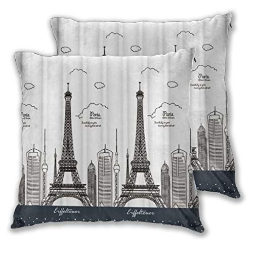 DECISAIYA 2 Funda De Almohada,Edificios en Blanco y Negro de la Torre Eiffel de París,Decoración Cojines Sala De Estar Sofás para Camas Sillas Dormitorio Jardín Coche,60x60cm