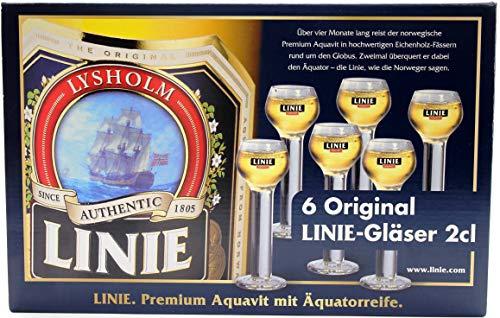 Original Linie Aquavit 2cl Gläser, 6 Stück