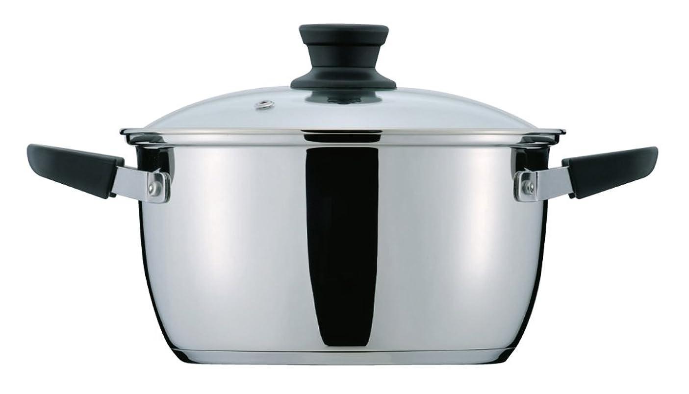 抑圧する新鮮な動員するパール金属 クラッセ 3層底 ガラス蓋 付 両手鍋 20cm 内面ふっ素加工 IH対応 HB-3416