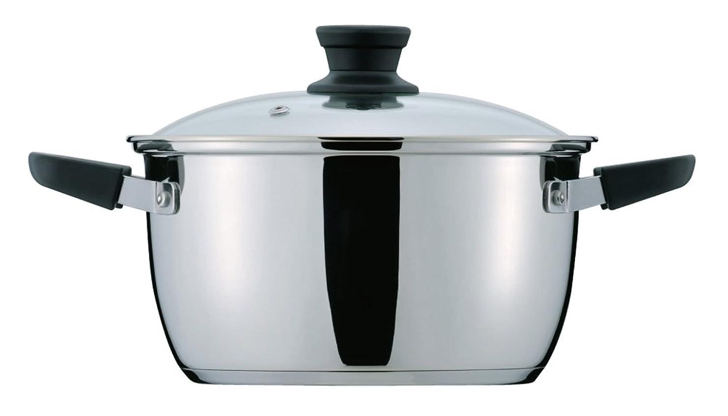 アクセル縞模様のホステスパール金属 クラッセ 3層底 ガラス蓋 付 両手鍋 20cm 内面ふっ素加工 IH対応 HB-3416